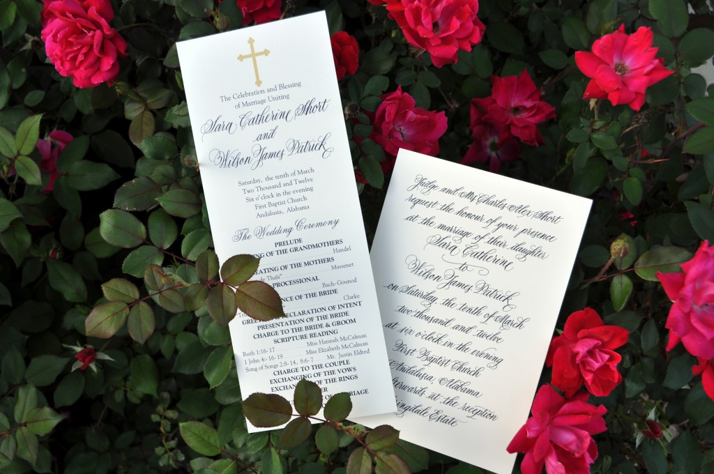 Custom Calligraphy Wedding Programs and Invitations