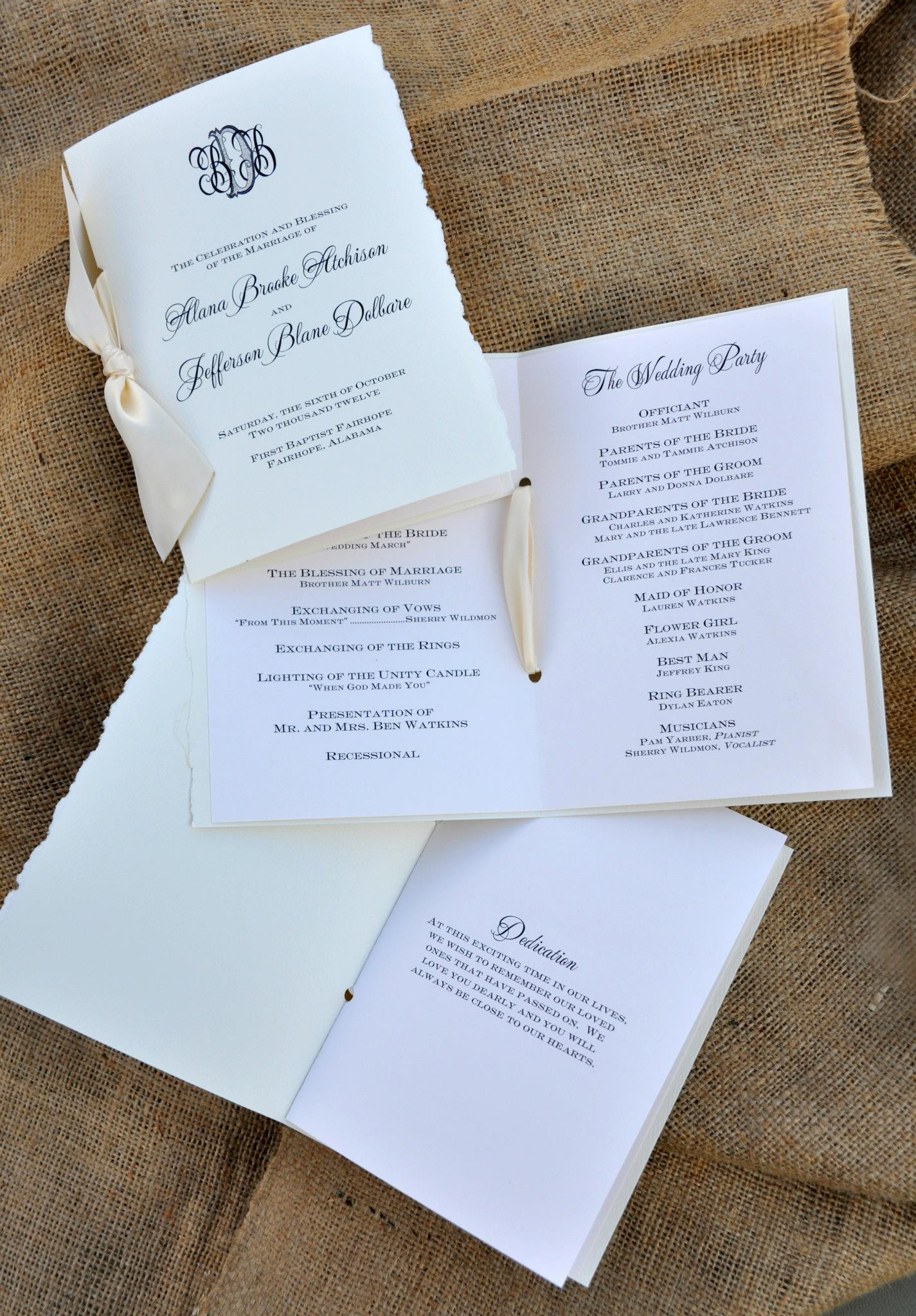 Customizing Your Wedding Programs