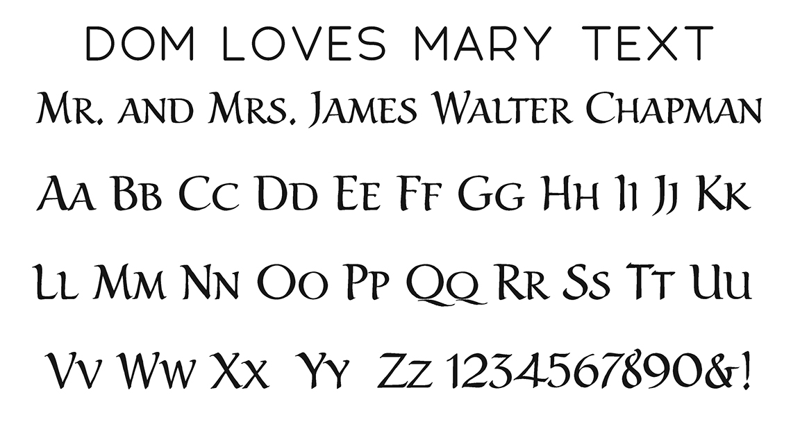 Dom Loves Mary Text Block Font