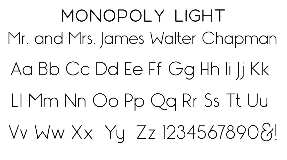 Monopoly Light Block Font