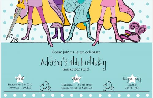 Blue Musketeers Party Invitation