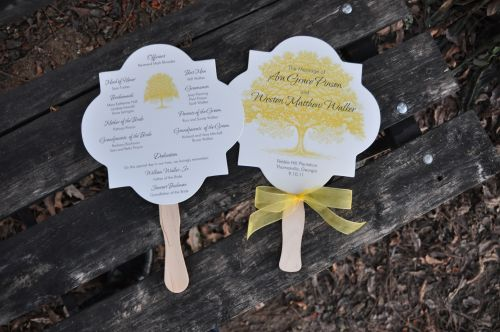 Back Of Front And View Wedding Program Fan