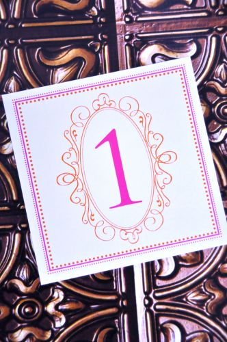 Square Table Number Cards