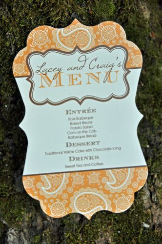 Meagan Die Cut Menu Cards Wiregrass Weddings