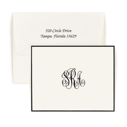 Double Thick Classic Monogram Bordered Note