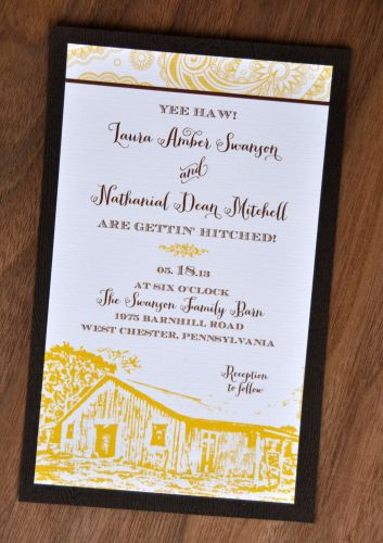 Mounted Wedding Invitations Rectangle Wiregrass Weddings