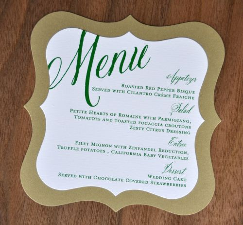 Mounted Shapely Square Wedding Menu - Wiregrass Weddings