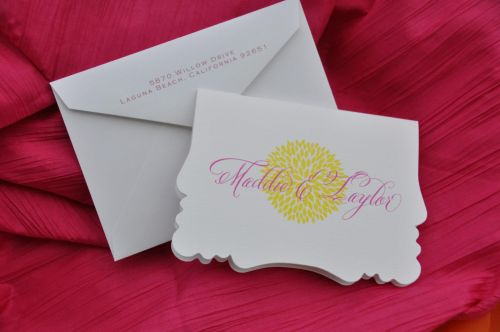 Victoria Die Cut Note Cards shown with optional return address