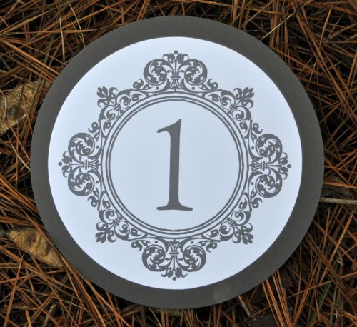 Round Mounted Table Number Cards