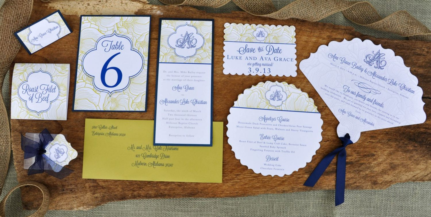 blossoming beauty wedding stationery set white linen on navy backer