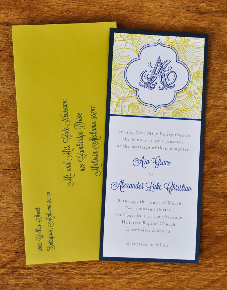 Blossoming Beauty Wedding Invitations (White Linen on Navy Backer)