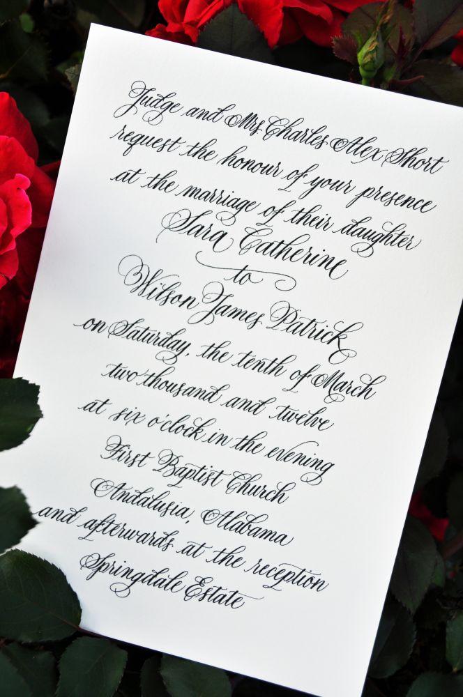 Wedding Invitations Calligraphy Wiregrass Weddings – Wedding Invite Calligraphy