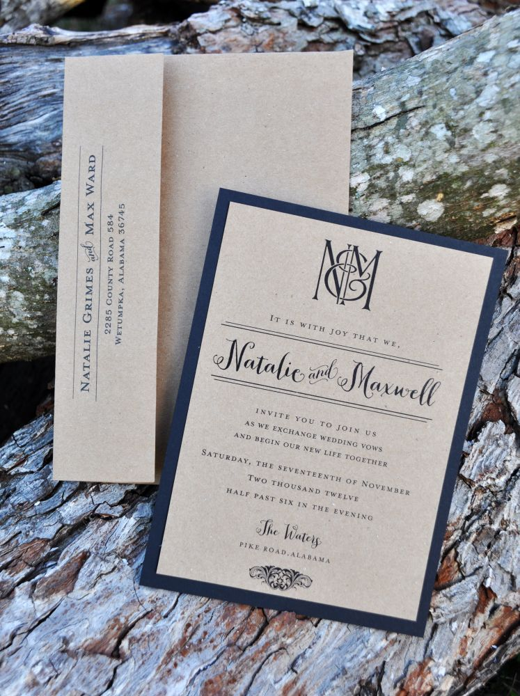 Kraft Kraze Invitation (Kraft Paper on Black Backer)