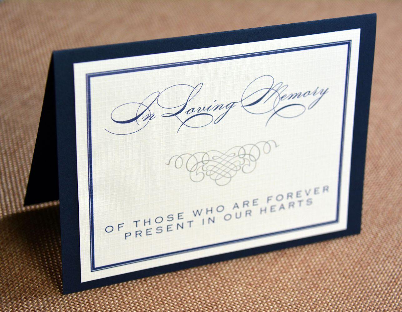 Memorial or Dedication Table Card (Single Mount) - Wiregrass Weddings