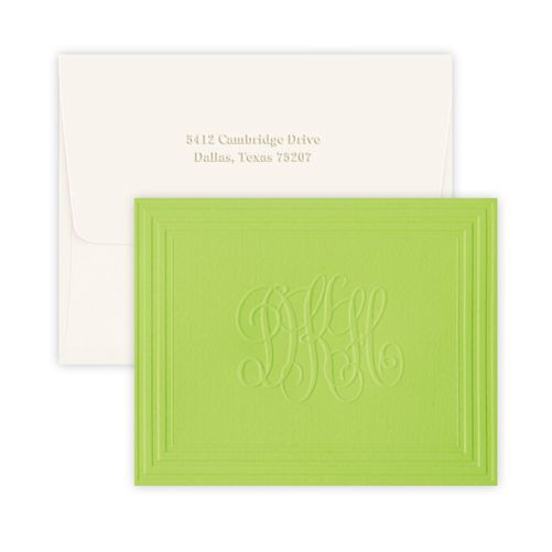 California Classic Frame Monogram Note Cards (shown in Citrus