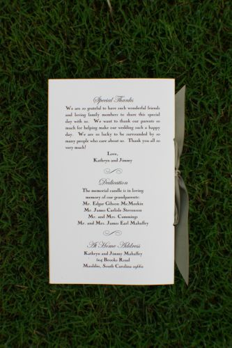 Wedding Program Anna Wiregrass Weddings