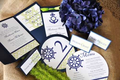Round Wedding Menu Nautical Stationery Suite Items Sold Separately